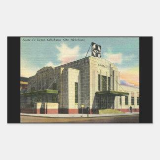 Depósito de tren de Santa Fe, vintage del Oklahoma Pegatina Rectangular