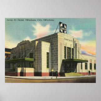 Depósito de tren de Santa Fe, vintage del Oklahoma Póster