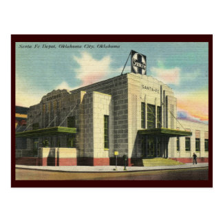 Depósito de tren de Santa Fe, vintage del Oklahoma Tarjetas Postales