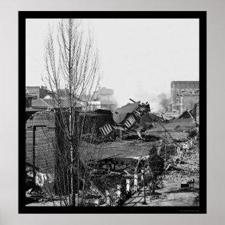 Depósito destruido del ferrocarril en Atlanta, GA  Póster