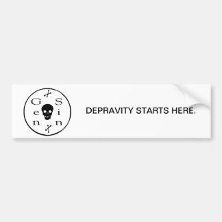 Depravity Starts Here Bumper Sticker