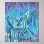 """""""Depredador en"""" la impresión azul del arte grande Posters"""