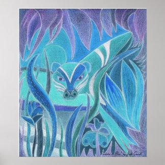 """""""Depredador en"""" la impresión azul del arte grande Póster"""