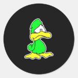 depressed green duck classic round sticker