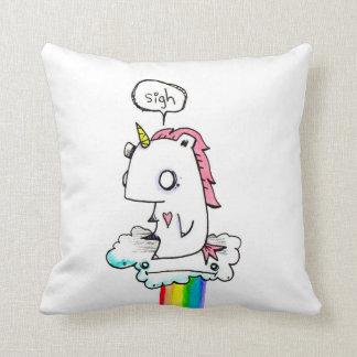 Depressed Unicorn by Emi Boz Throw Pillow