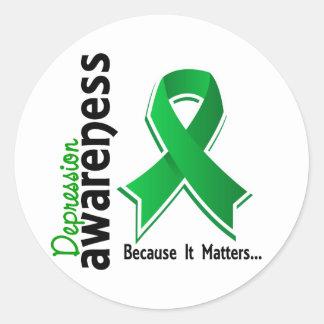 Depression Awareness 5 Classic Round Sticker