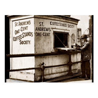 Depression Era One Penny Coffee Stand Postcard
