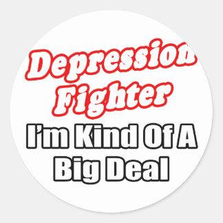 Depression Fighter...Big Deal Round Stickers