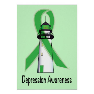 Depression Green Awareness Lighthouse of Hope Poster