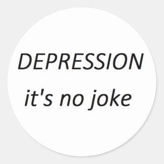 Depression it's no joke classic round sticker