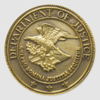 DEPT OF JUSTICE GOLD BADGE CLASSIC ROUND STICKER