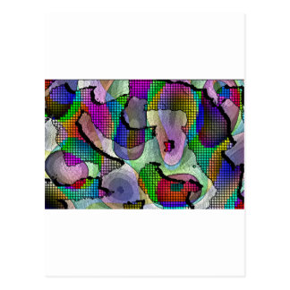 Depth, layers, pattern in colors postcard