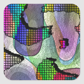 Depth, layers, pattern in colors square sticker