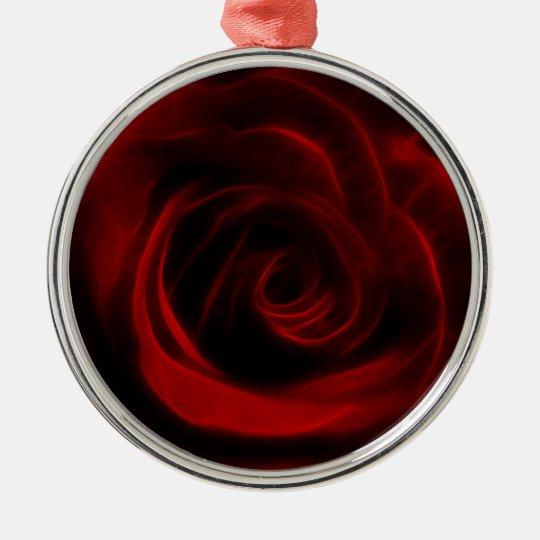 Depth of love red rose metal ornament