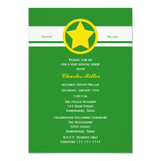 Deputy Police Graduation Invitations Forest Green