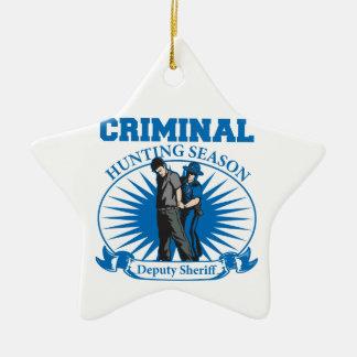 Deputy Sheriff Criminal Hunting Season Ceramic Ornament