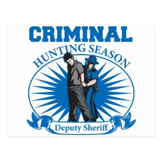 Deputy Sheriff Criminal Hunting Season Postcard