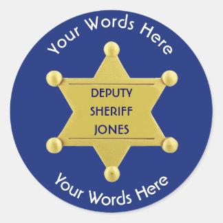 Deputy Sheriff Gold Star Badge Custom Sticker