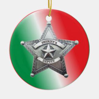 Deputy Sheriff's Star Badge Ceramic Ornament