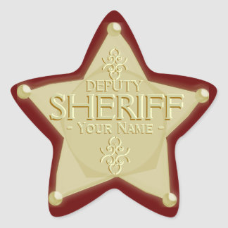 Deputy Sheriff with Your Name Badge Sticker