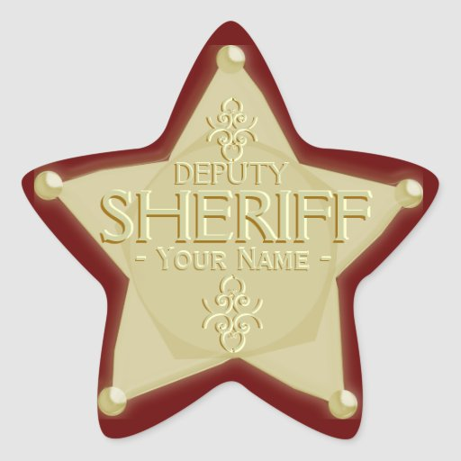 Deputy Sheriff with Your Name Badge Sticker | Zazzle