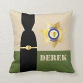 Rustic Sheriff Badge Spur Throw Pillow