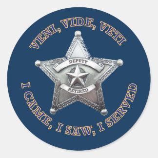 Deputy Sheriff's Badge Logo Classic Round Sticker