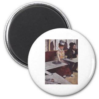 Der Absinth. Degas, Edgar Germain Hilaire 2 Inch Round Magnet