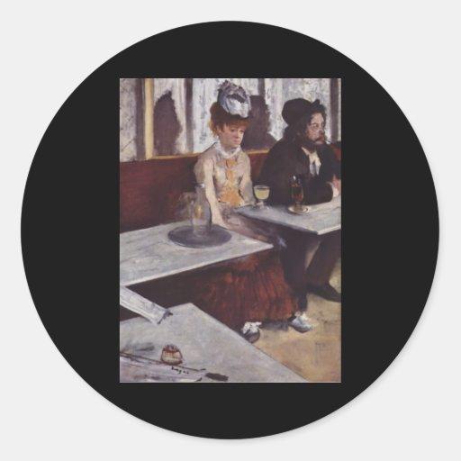 Der Absinth. Degas, Edgar Germain Hilaire Classic Round Sticker