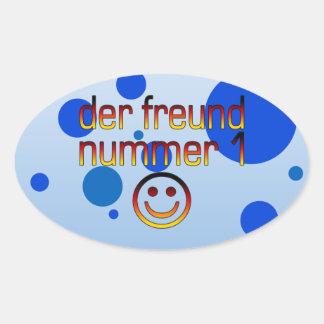 Der Freund Nummer 1 in German Flag Colors for Boys Oval Sticker