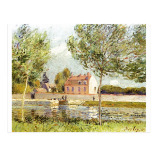 Der Loing 1889 de Alfred Sisley Häuser Ufer Tarjetas Postales