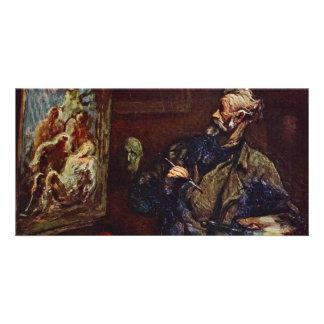 Der Maler By Daumier Honoré Photo Card Template