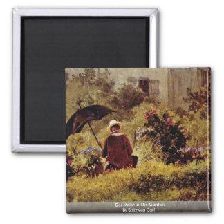 Der Maler In The Garden By Spitzweg Carl Refrigerator Magnets
