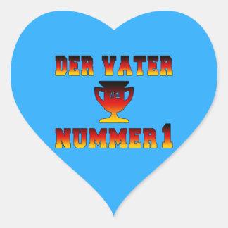 Der Vater Nummer 1 #1 Dad in German Father's Day Heart Sticker