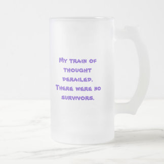 Derailed train of thought frosted glass beer mug
