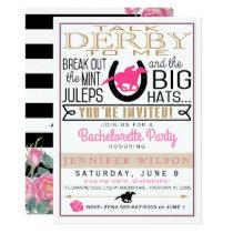 Derby Bachelorette Black/Gold/Pink Roses Custom Invitation
