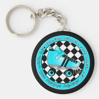 Derby Chicks Roll With It - Blue Aqua Black White Basic Round Button Keychain