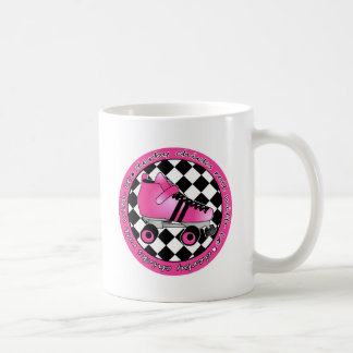Derby Chicks Roll With It - Hot Pink Black White Coffee Mug
