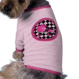 Derby Chicks Roll With It - Hot Pink Black White Doggie Tee Shirt
