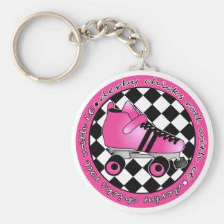 Derby Chicks Roll With It - Hot Pink Black White Basic Round Button Keychain