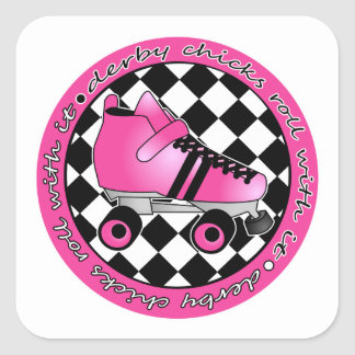Derby Chicks Roll With It - Hot Pink Black White Square Sticker