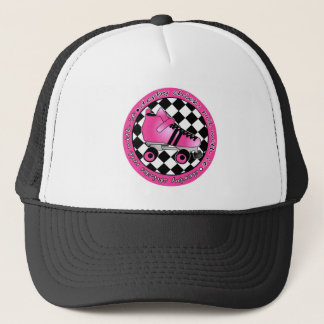 Derby Chicks Roll With It - Hot Pink Black White Trucker Hat