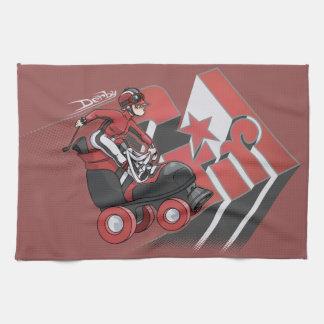 Derby Girl Red & Black Hand Towel