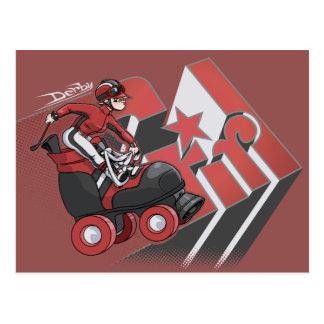 Derby Girl Red & Black Postcard