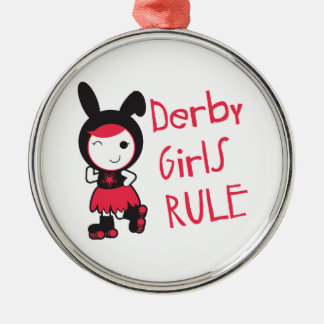 Derby Girls Rule Round Metal Christmas Ornament