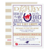 Derby Horse Racing Party Blue/Red/Gold Invitation