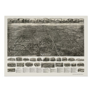 Derby (Manchester), CT Panoramic Map - 1914 Poster