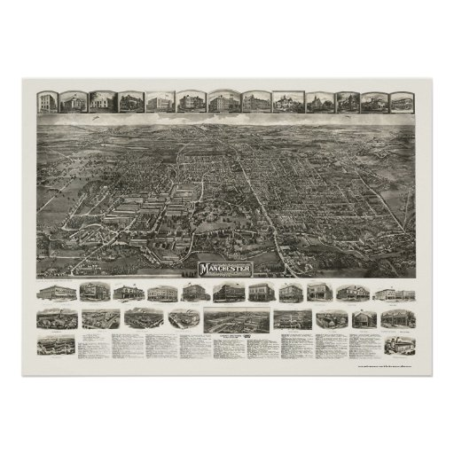 Derby (Manchester), CT Panoramic Map - 1914 Print