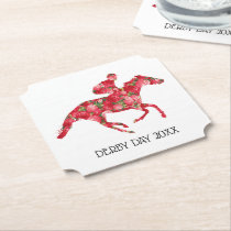 Derby Party Racehorse and Roses Paper Coaster