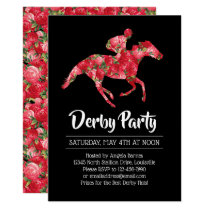 Derby Party Red Roses Racehorse 2 Invitation